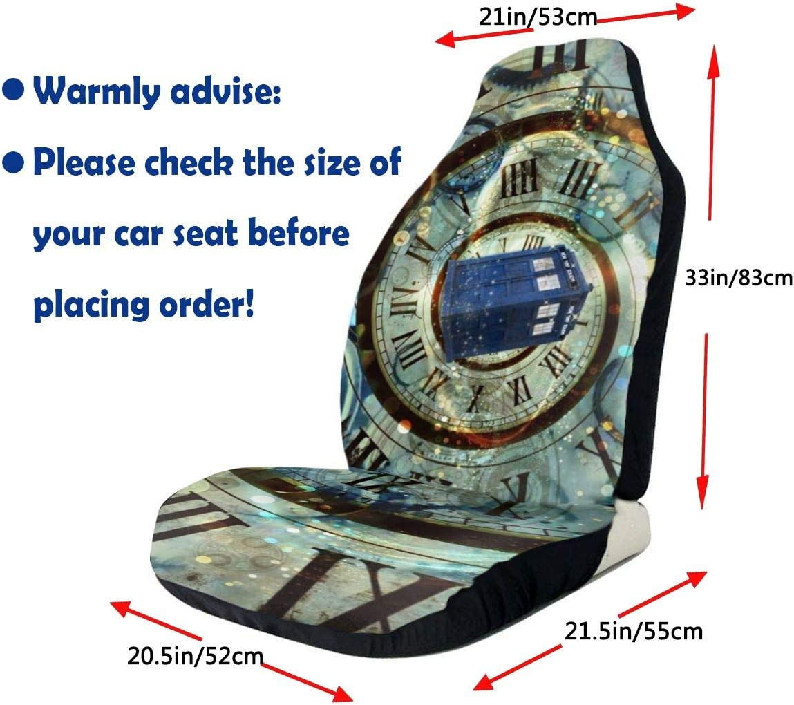 ZENRAEW Tardis Doctor Police BoxCar Seat Cover Front Seat Protector Scratch-Proof Anti-Dirt 2Pcs