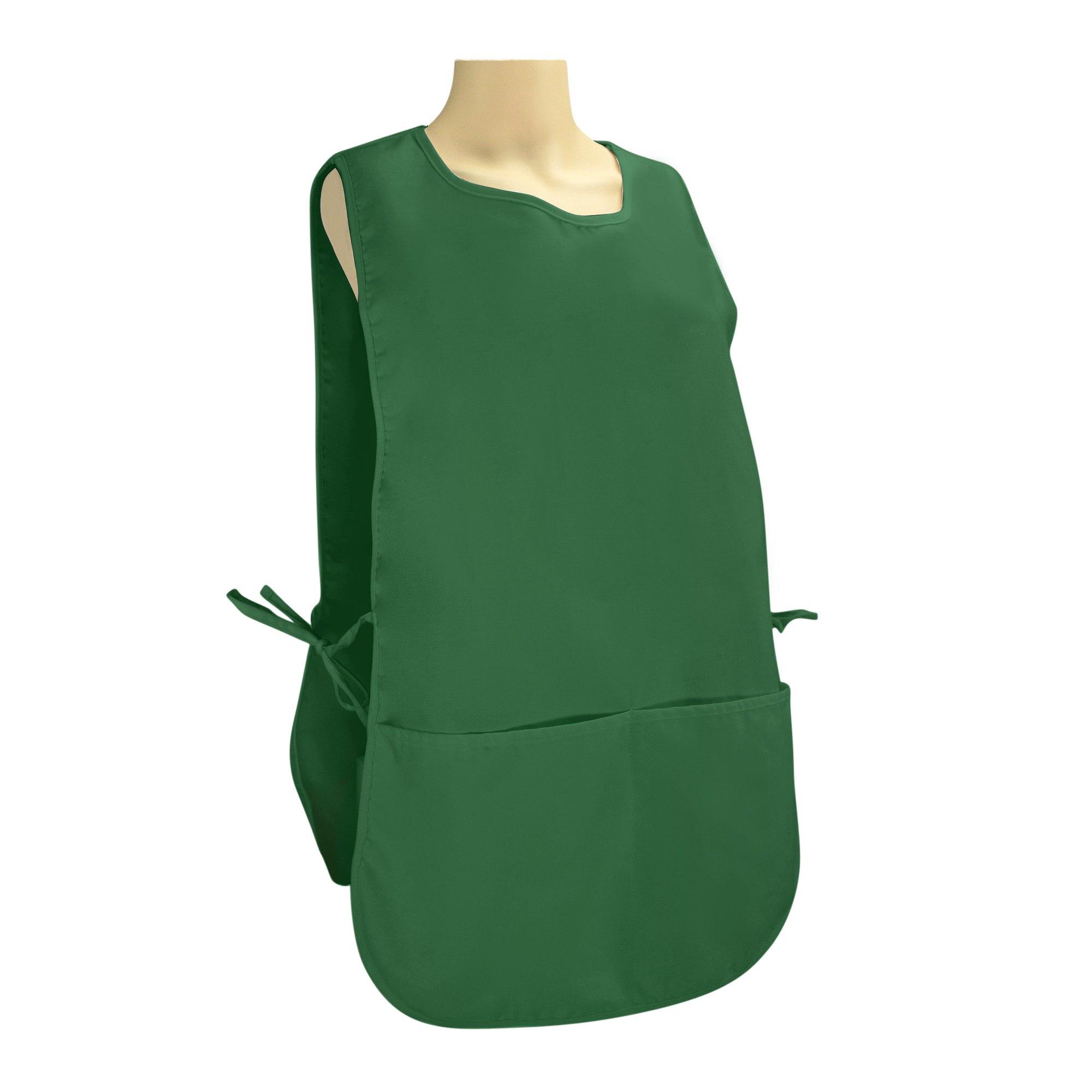 DALIX Cobbler Apron 2 Pockets Smock Regular 28.5'' x 18.5'' Poly Cotton Black White (10, Dark Green) by DALIX