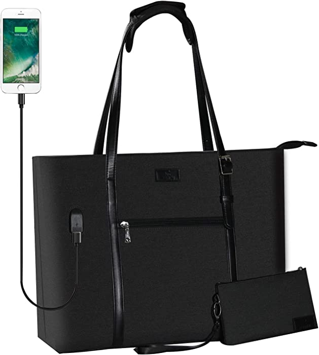 USB Laptop Tote Bag,Chomeiu Woman 15.6 inch Laptop Organizer Bag Teacher Work Purse (Black)