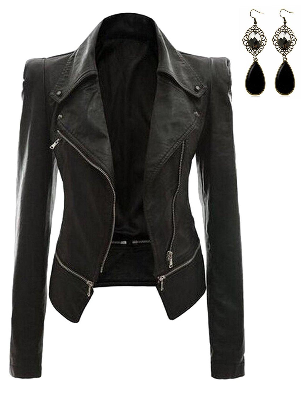 Oioninos Women Leather Jacket Slim Punk Bomber Casual Zipper Short Coat,Large,Black