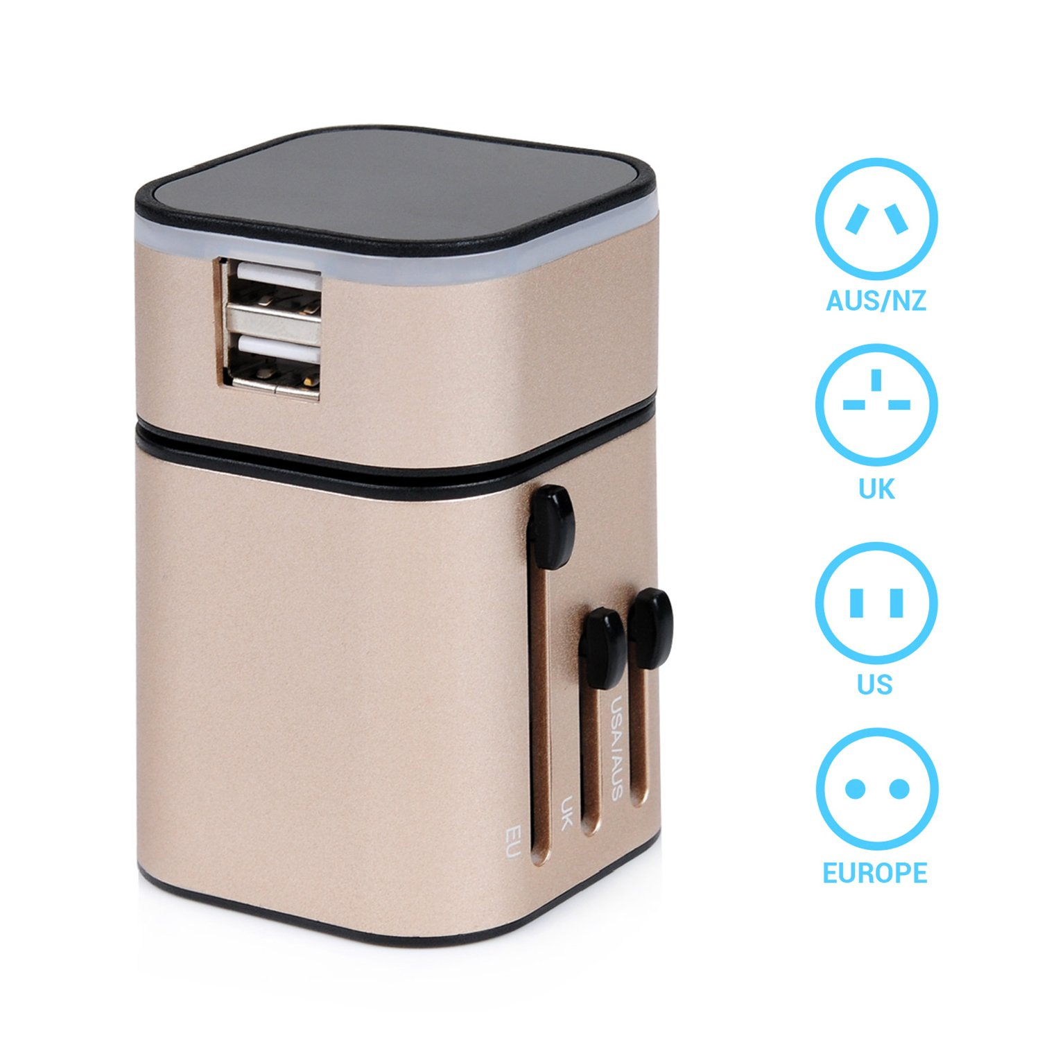 Travel Adapter - LEMEGO Worldwide All-in-one Safety Travel Charger Wall Adapter Plug Built-in 3.2A Dual USB Ports For Home Use-Safety Fuse Protection (Blue)