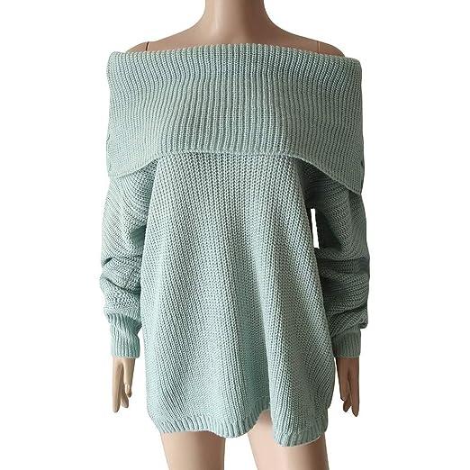 Luckycat Suéter de Manga Larga para Mujer Fuera del Hombro Suéter de Punto Grande para Mujer: Amazon.es: Ropa y accesorios