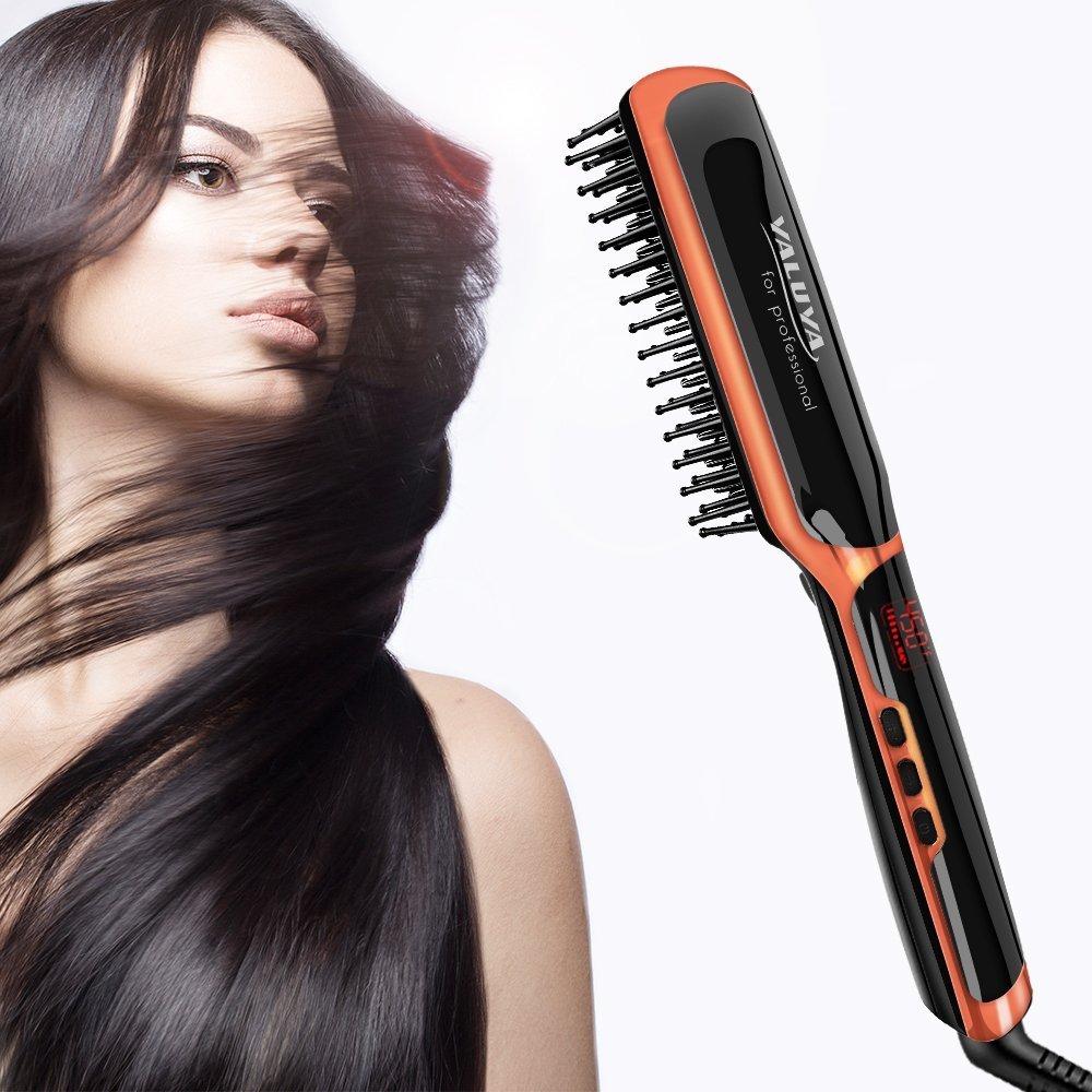 Hair Straightening Brush YALUYA Hair Straightener Brush Ceramic Portable Electric Heat Brush Straightening Irons Hair Care Brush Anti Scald Ionic Teeth Comb for Travel Women's Day Gift (Black) by YALUYA (Image #1)