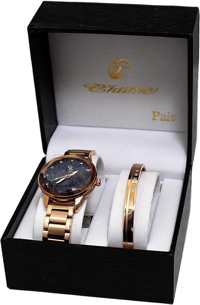 Estuche con reloj de mujer con pulsera de cobre: Amazon.es: Relojes