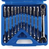 Femor Llave Combinada Llave Fija con Carraca 12 Piezas 8-19mm (Con Maleta Azul)