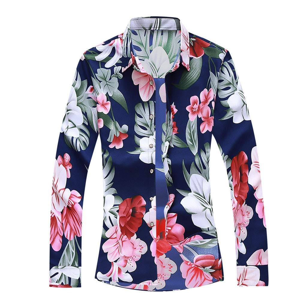 Uqiangy Mens Colorful Printed Loose Fit Long Sleeve Aloha Button Dress Shirt Plus Sizes