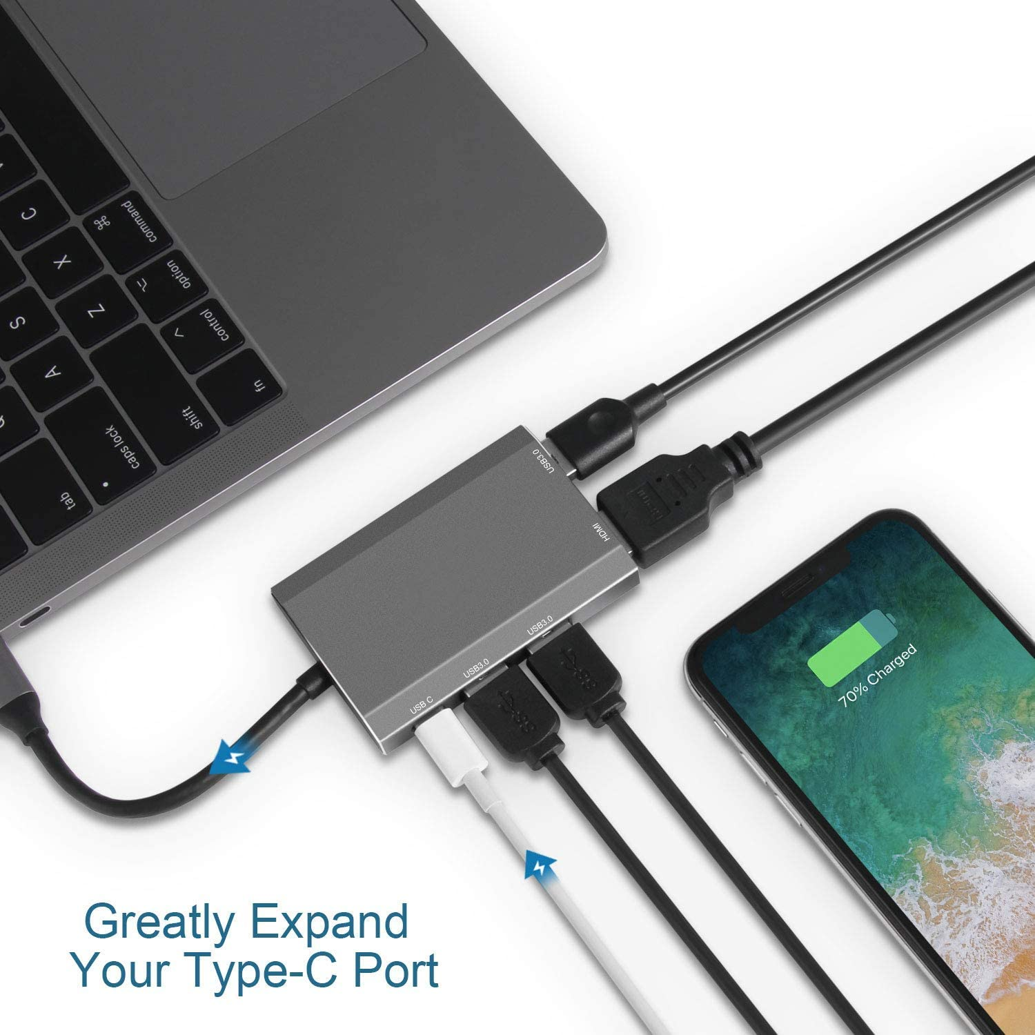 Space Gray 2018 Galaxy S9//S8 and More XPS Type C PD Charging Compatible MacBook//Pro//Air 3 USB to USB 3.0 Ports USB C Hub ChromeBook 5 in 1 USB C Adapter with USB C to HDMI Adapter