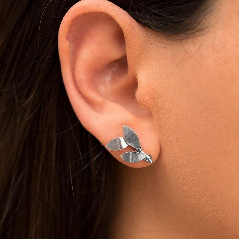 Birthstone Earrings Silver Dangle Earrings Minimalist Earrings Leaf Jewelry Leaf Earrings Gemstone Earrings Charm Earrings