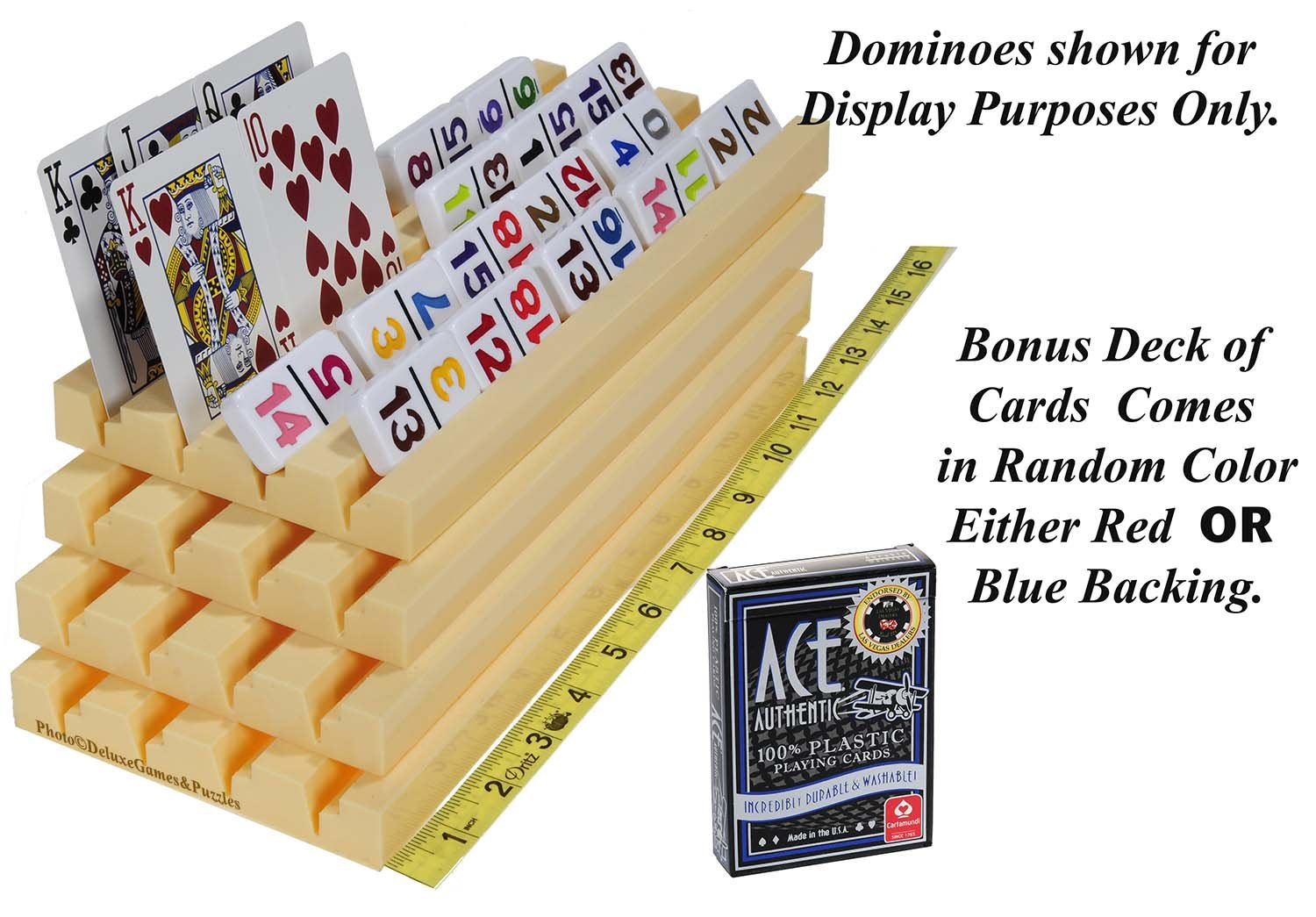 Deluxe Games and Puzzles Racks for Dominoes OR Playing Card /_ Dual Use /_ Set of 4 /_ Bonus 1 Deck of Ace 100/% High Quality Plastic Playing Cards Plastic Trays Random backing color of Red or Blue