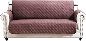 Argstar Large Sofa Slip Cover Couch Slipcover Furniture Protector for Pet, Cats, Dogs Chocolate/Natural (3-4 Seater)