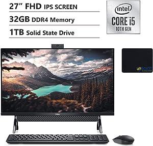 "Dell 2020 Inspiron 7000 All-in-One Desktop 27"" FHD Display, Intel i5-10210U, 32GB DDR4 Memory, 1TB Solid State Drive, HDMI, WiFi, Webcam, Wireless Keyboard, KKE Mousepad, Win10 Home, Black"