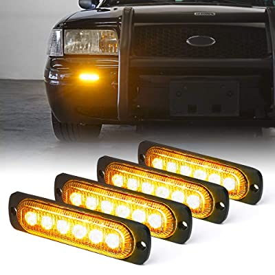 Xprite Amber 6 LED Emergency Strobe Lights Kit Surface Flush Mount Side Marker Grill Grille Hazard Warning Light Head 18 Flashing Modes for Off-Road Vehicles ATV Trucks Cars - 4Pcs: Automotive