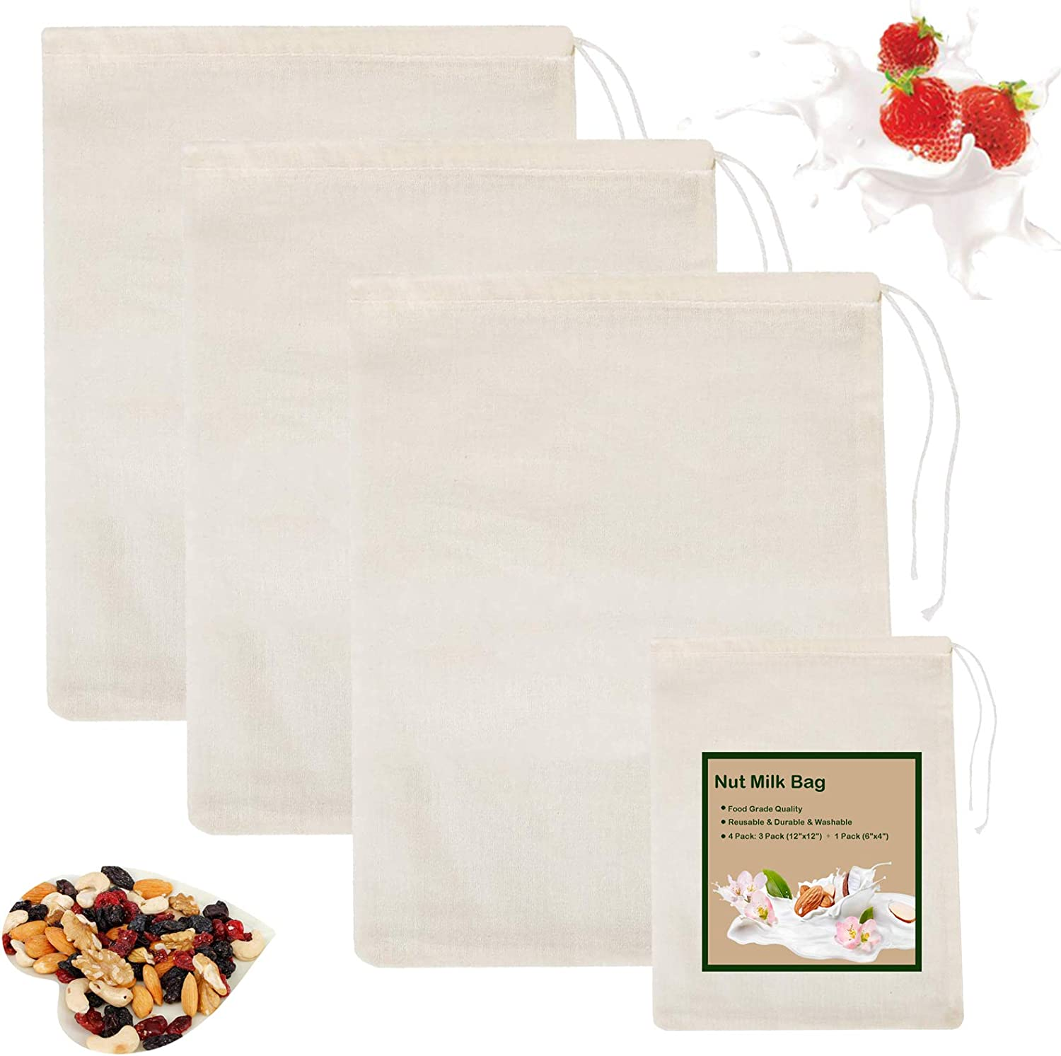 Nut Milk Bag for Straining, Cheesecloth Reusable Cold Brew Coffee Cheese Cloths Strainer Large Celery Juice, Oat Milk, Almond Milk, Yogurt Cotton Fine Mesh Filter Bags