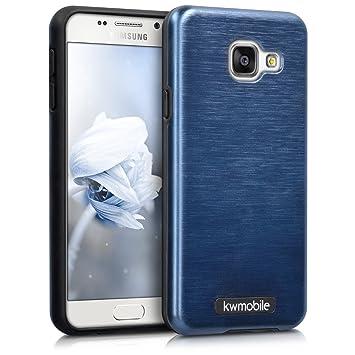kwmobile Funda para Samsung Galaxy A3 (2016) - Carcasa [híbrida] de [TPU] con diseño de Aluminio Cepillado en [Azul Oscuro]