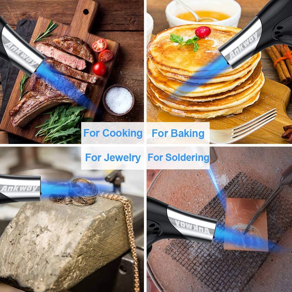 Soplete de cocina Recargable, Ankway soplete gas butano profesional antorcha de cocina, soplete cocina butano para cocinar alimentos y creme brulée, ...