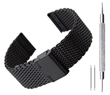 BlueBeach® 22mm Milanese Mesh Acero Inoxidable Sustitución de la correa de pulsera para Pebble Time / Motorola 360 2nd Gen / Samsung Gear 2 R380 R381 ...