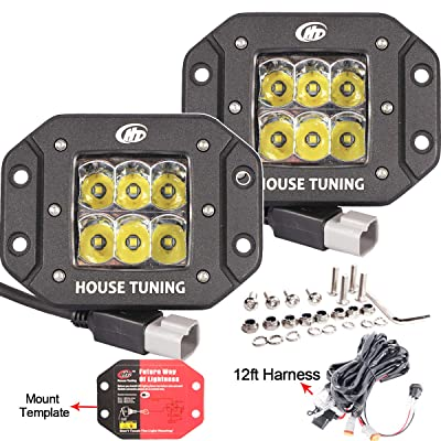 House Tuning - 2X 30W 2600lm Flush Mount LED Driving Light kit Spot beam LED Work Light Fog light for Pick Up Jeep Trucks Off road Racing Tractors 4WD Vehicle Lights-2years Warranty (Spot Beam): Automotive