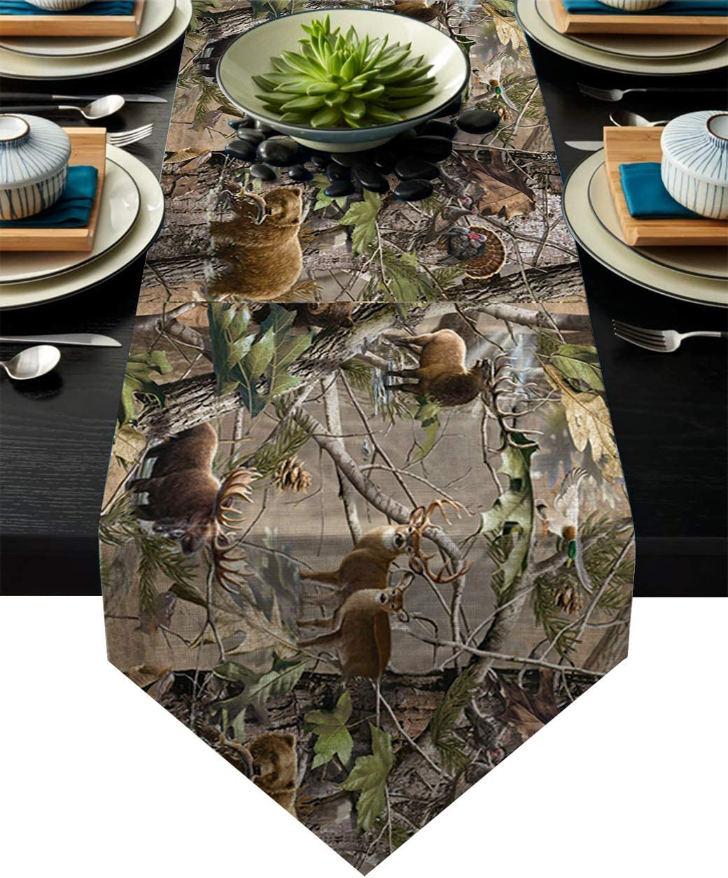 "Cotton Linen Table Runner Dresser Scarves Real Camo Tree Rustic Deer Elk Bird Bear Non-Slip Burlap Tablecloth for Holiday Dinner Parties Wedding Home Decor - 14""x72"""