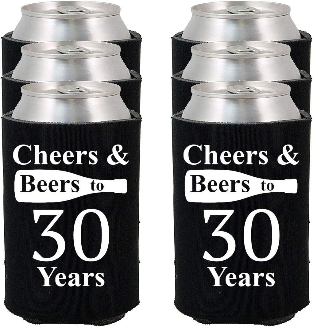 Shop4Ever Cheers & Beers To 30 Years Can Coolie ~ 30th Birthday Party 1990 Thirtieth Anniversary Beer Can Sleeve Coolers ~ (30 Yrs, Blk, 24 Pk)