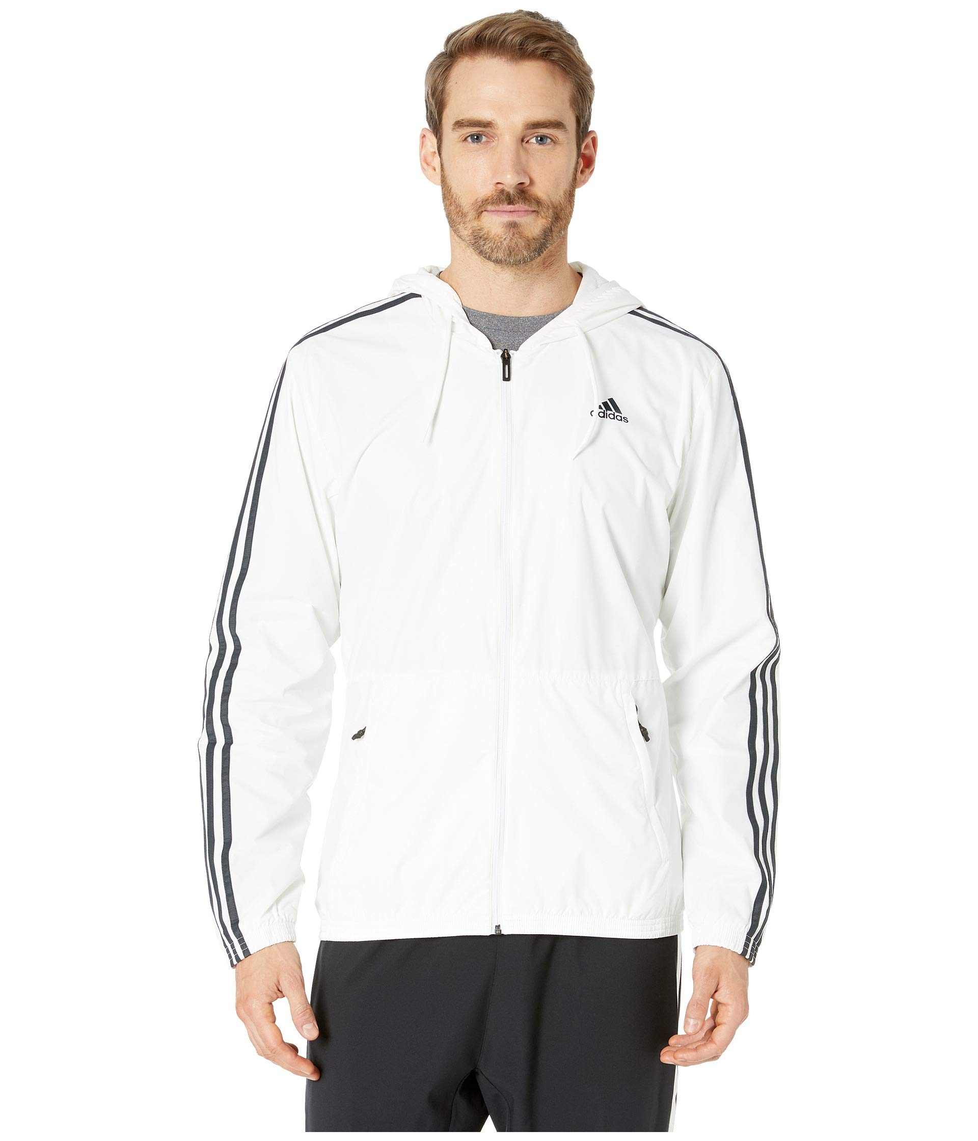 adidas Men's Essentials Wind Jacket (X-Large, White/Grey) by adidas