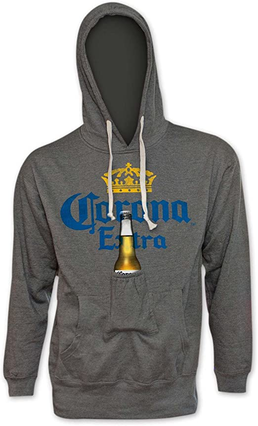 Corona Circle Classic Logo Beer Pouch Hoodie With Bottle Opener Grey