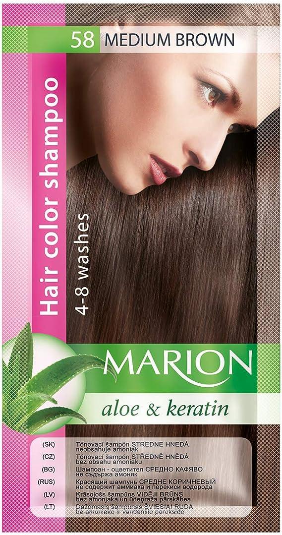 Champú Marion para teñir el cabello, en saquito que dura de 4 a 8 lavados, castaño medio (58)