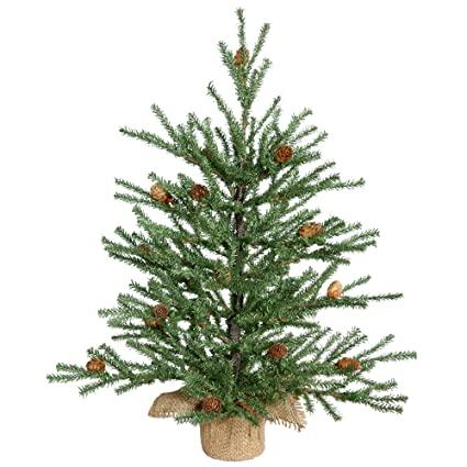 vickerman carmel pine tree with pine cones 294 pvc tips in burlap base 18quot - Christmas Tree With Pine Cones