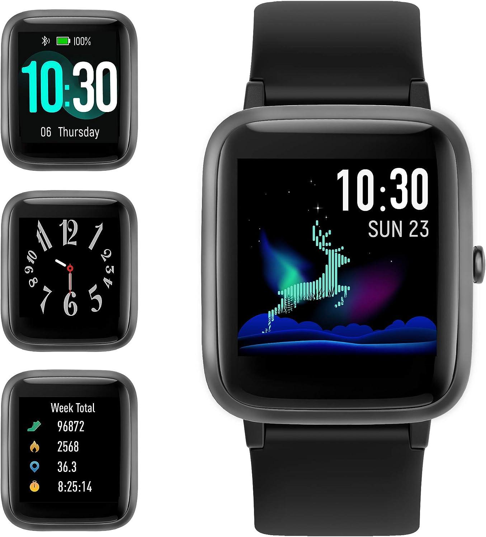 GRDE Smartwatch, Reloj Inteligente Impermeable IP68 con Rastreador Ejercicios Podómetro Caloría GPS para Deporte, Reloj Smart Sueño Pulsómetros Despertador Hombre Mujer para Android iPhone
