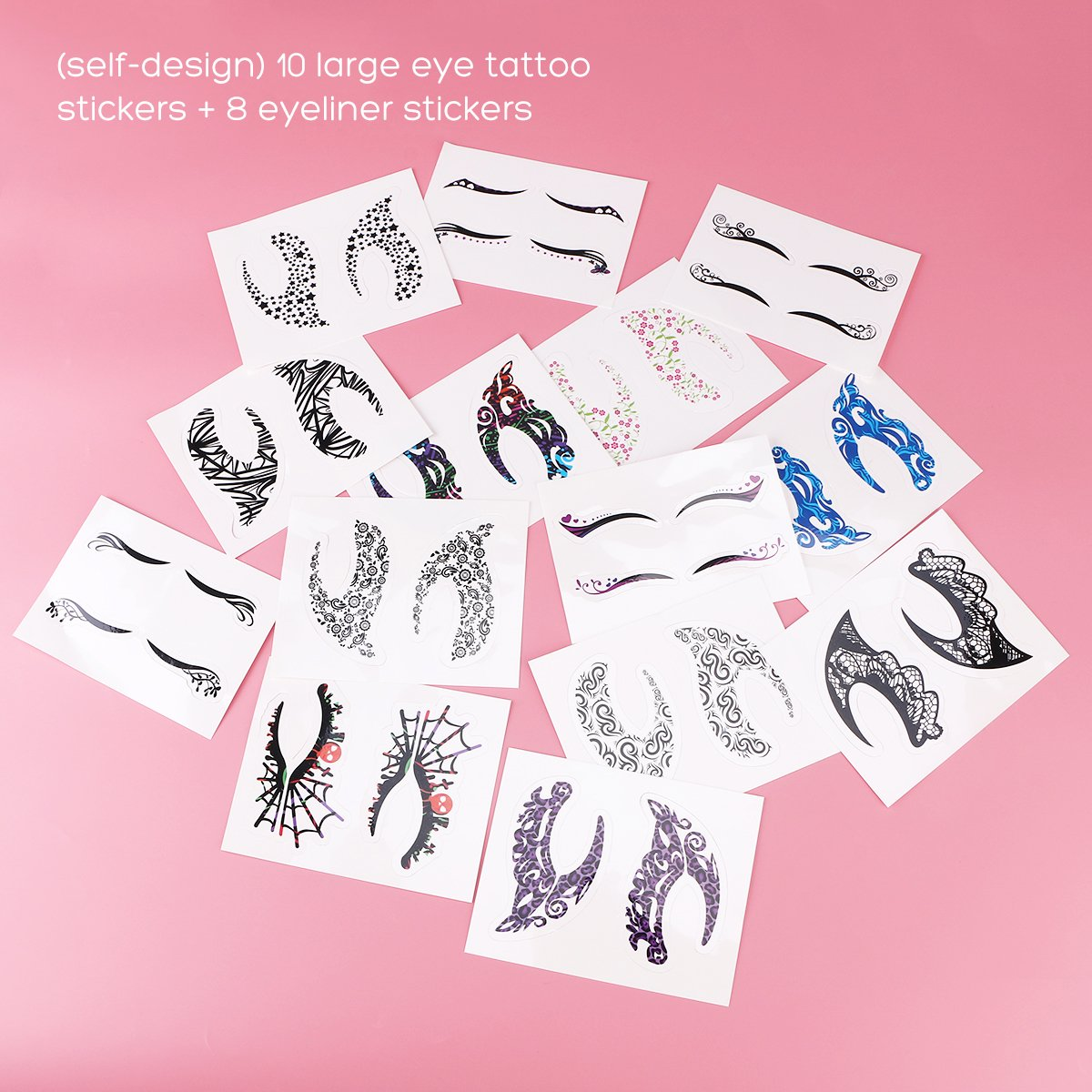 Temporary Eye Tattoo, 18 Pairs Eye Tattoo Stickers with Waterproof Eyeshadow and Eyeliner Designs