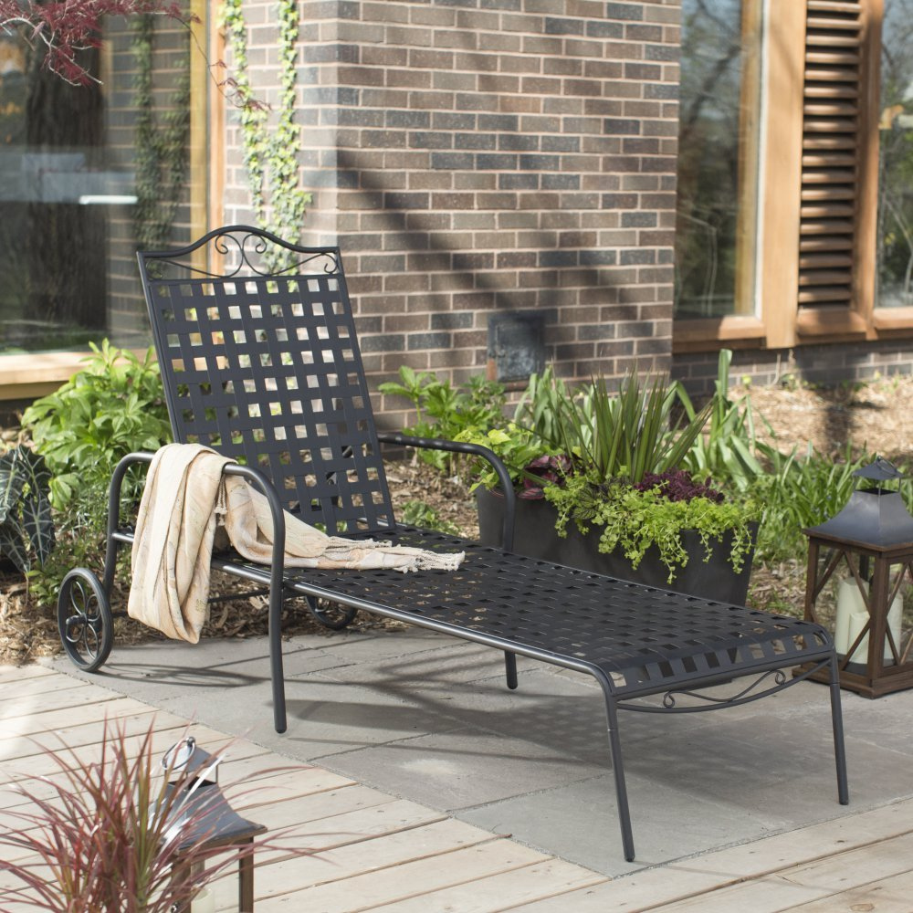 Woodard Capri Wrought Iron Multi-Position Single Outdoor Chaise Lounge
