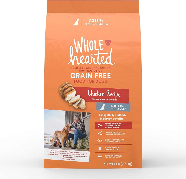 WholeHearted Grain Free Senior Chicken Recipe Dry Dog Food, 5 lbs.