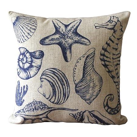 Blue Vivid Sea Creatures Print Cushions Decorative 45x45 CM Chair Cushions  Burlap Cushion