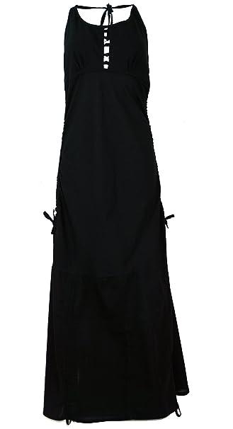 GURU-SHOP, Vestido Largo Verano Hippie Chic, Negro, Algodón, Tamaño: