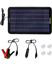 ECOWORTHY 12 Volts 10 Watts Portable Power Solar Panel Battery Charger with Alligator Clip Adapter Backup for Car Boat RV