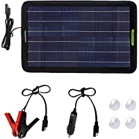 ECO-WORTHY 12 voltios 5 vatios 10 vatios 120 vatios Energía del Panel Solar portátil Cargador de batería de Respaldo para la Potencia del Motor del automóvil (10W Panel Solar)