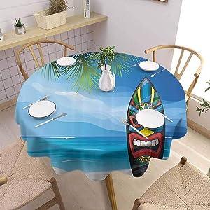 Tiki Bar Decor Modern Round Tablecloth Tiki Warrior Mask Design Surfboard on Ocean Beach Abstract Landscape Surf Daily use Diameter 35 inch Multicolor