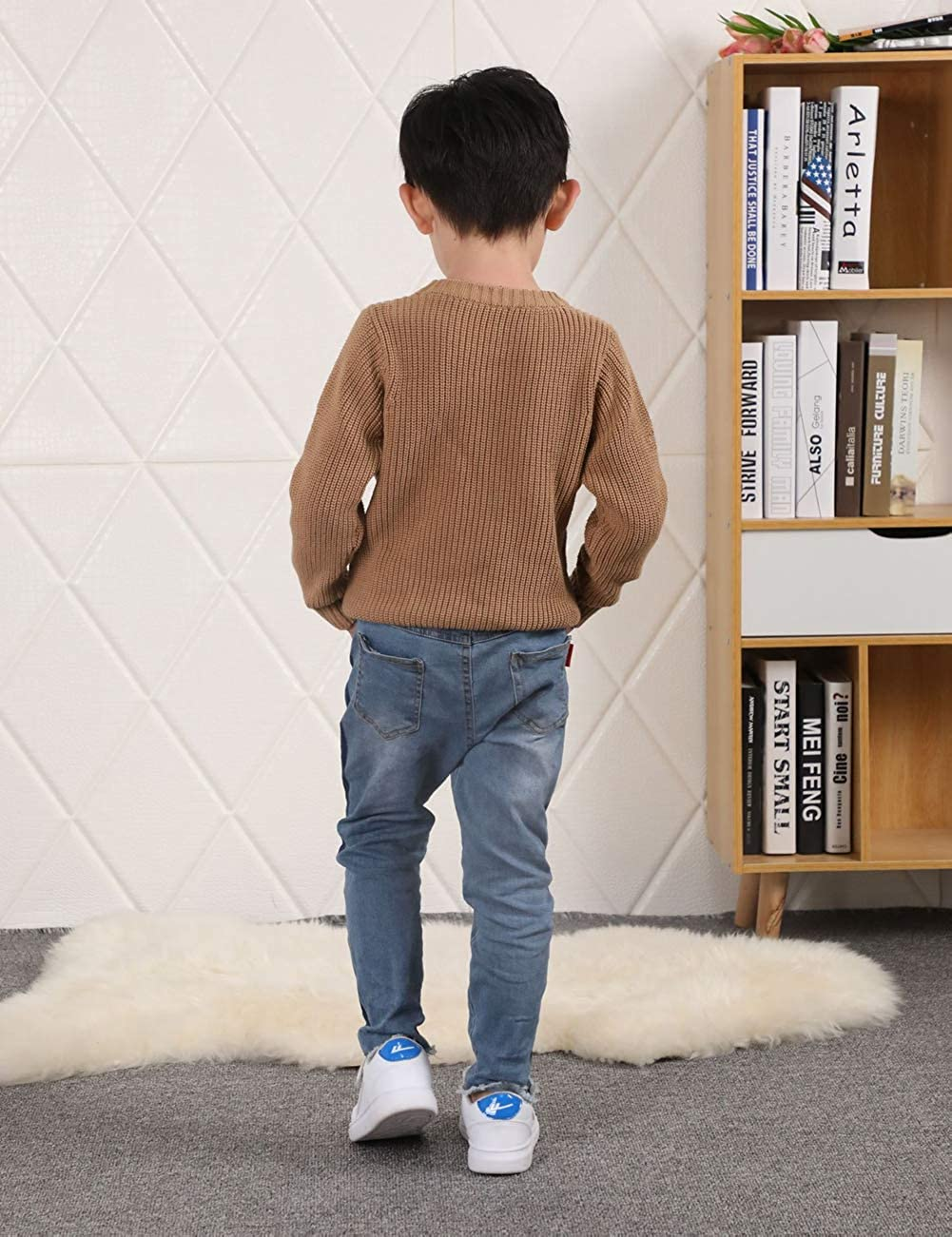 Kimjun Toddler Baby Pullover Sweater for Boy Girl Loose Cable Knit Sweatshirt 1-7t