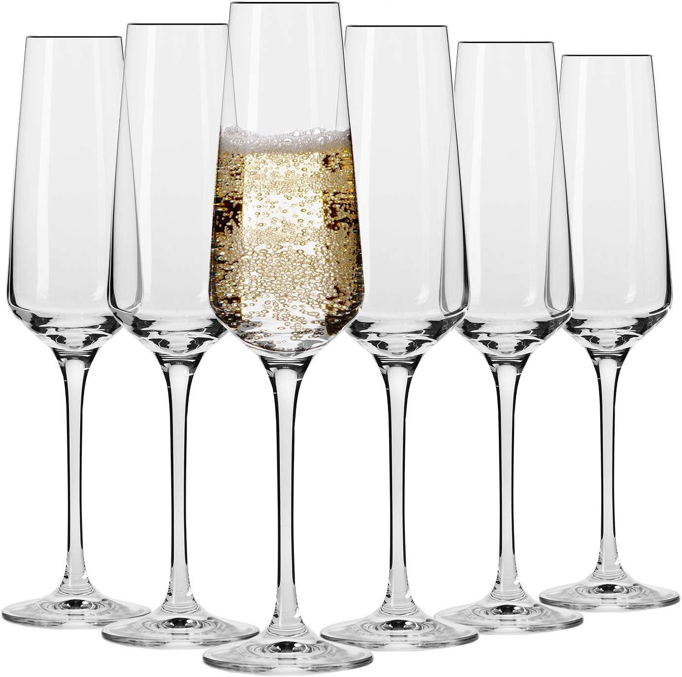 Krosno Copa de champán | Juego de 6 | 180 ML | Colección vanguardista | Perfecto para el hogar, restaurantes y fiestas | Lavaplatos y caja fuerte de microondas: Amazon.es: Hogar