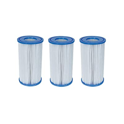"Bestway 58012 Swimming Pool Filter Pump Replacement 4.2""x8"" Cartridge (3 Pack) : Garden & Outdoor"