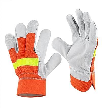 Guantes de trabajo de cuero de 1 par, guantes de trabajo de seguridad para trabajos