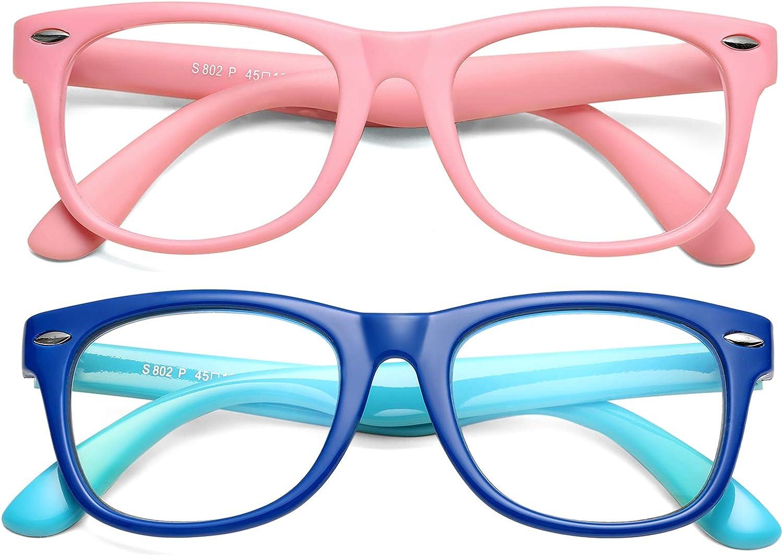 Braylenz Kids Blue Light Blocking Glasses Boys Girls, 2 Pack Computer Learning/Gaming Blue Light Filter Glasses, Anti Eye Strain & Headache, Unbreakable Frame, Age 3-12(Pink+Deep Blue/Light Blue)