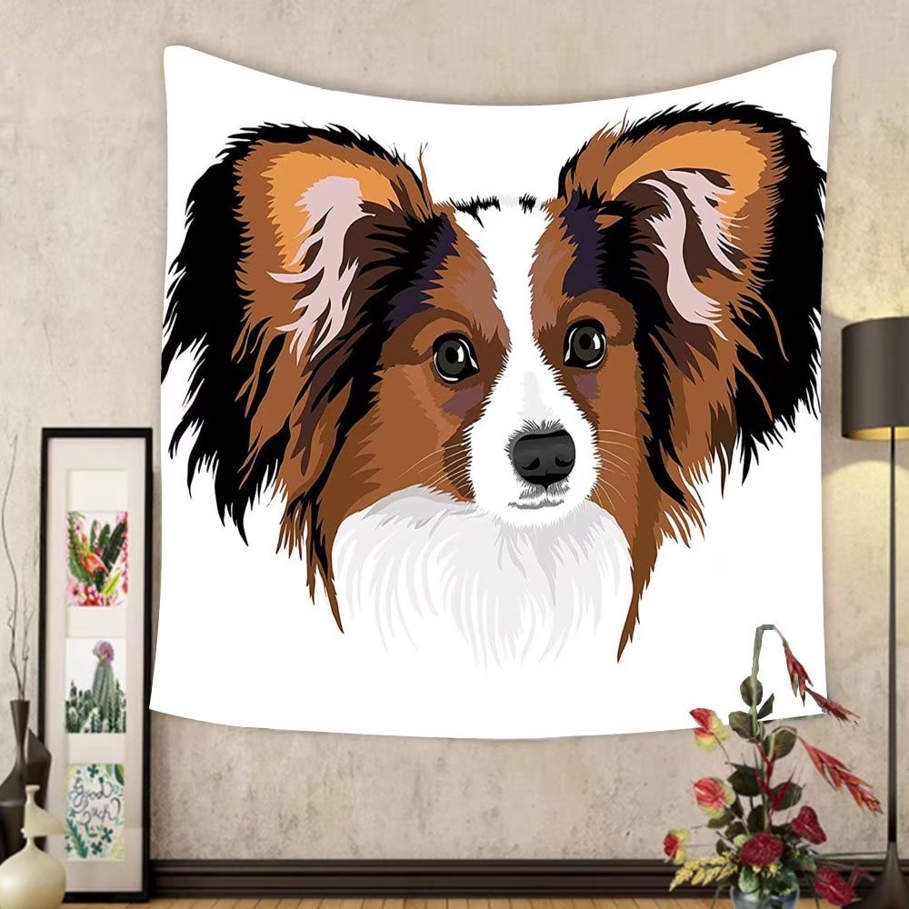 Gzhihine Custom tapestry Animal Decor Tapestry Cute Smart Adorable Best Friend Dog Movie Pet Cartoon Artwork Image for Bedroom Living Room Dorm 80WX60L Cinnamon Black White