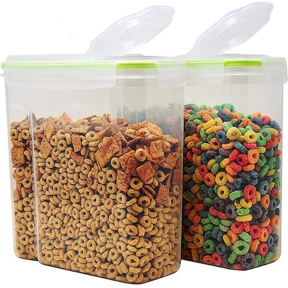 Color Zebra Réservoir de stockage de grain de capacité très grande - récipients en plastique de stockage 4L (16.9 tasse 135.2oz) avec des couvercles hermétiques de joint - appropriés pour le sucre, riz, écrous, casse-croûte, nourriture pour animaux familie