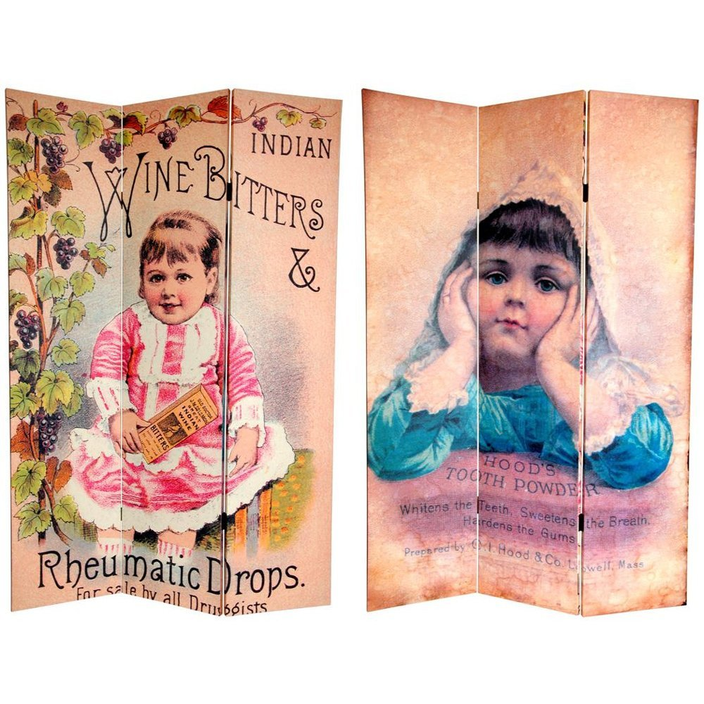 Oriental Furniture 6 ft. Tall Double Sided Vintage Children Canvas Room Divider by ORIENTAL FURNITURE (Image #1)