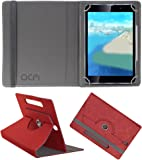 Acm Designer Rotating Leather Flip Case For Iball Slide Wings Tablet Cover Stand Peach