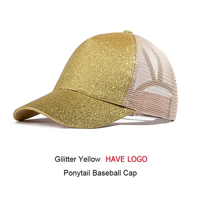 bccb3e1c61b98 Image Unavailable. Image not available for. Color: HANBINGPO 2019 Ponytail  Baseball Cap Women Messy Bun Snapback Summer Mesh Hats Casual Sport Sequin  Caps