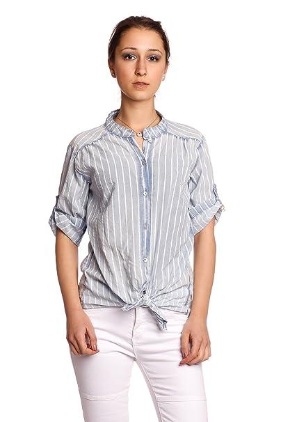 Abbino 8098 Blusa Tiras y Nudos Top para Mujer 6 Colores - Entretiempo Primavera Verano Otoño