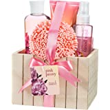 Bath and body Gift Set Relaxing Summer Pink Peony Fragrance Aromatherapy Home Spa with Skincare Body Lotion, Shower Gel, Bubble Bath, Body Spray, Bath Sponge in a Natural Wood Box Perfect Gift Basket