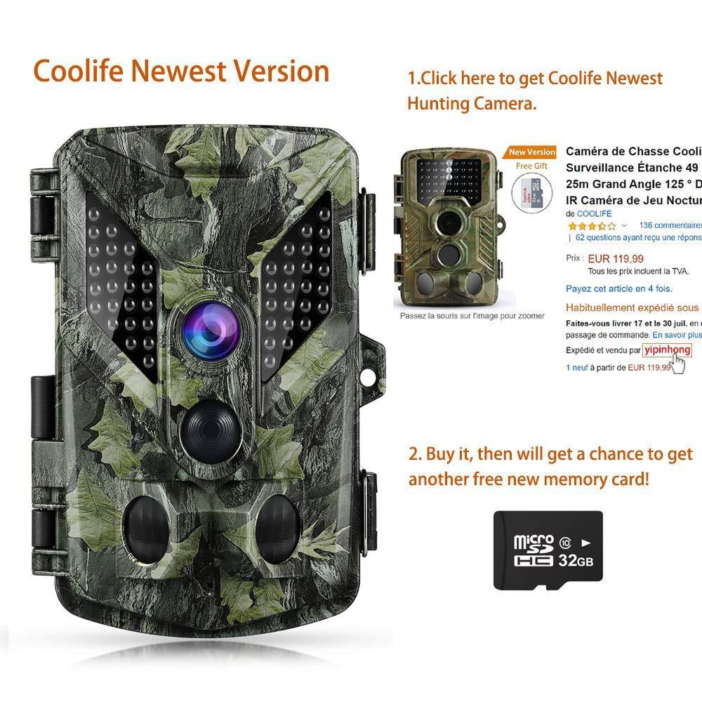 Coolife Cámara de Caza 16MP 1080P HD Trail Cámara con Visión Nocturna Impermeable IP56 con PIR Infrarrojo Sensor de Movimiento 46 Pcs IR Leds DE 2.4