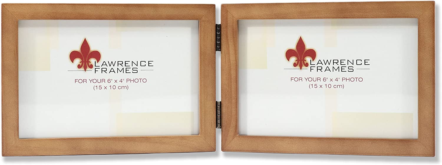 6 by 4-Inch Lawrence Frames 766064D Nutmeg Wood Hinged Double Picture Frame